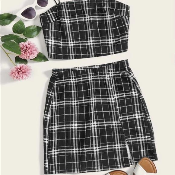 SHEIN Dresses & Skirts - SHEIN matching plaid crop top and skirt set!!!💗✨✨